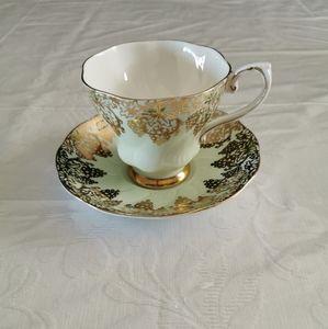 Royal Grafton Green & Gold Grapes Teacup & Saucer